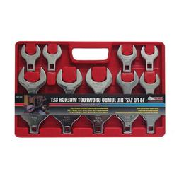 GRIP SAE Jumbo Crowfoot Wrench Set 14 Piece Open End Hand To