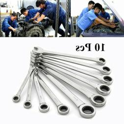 10 Pcs Flexible Head and End Ratchet Wrench Tool Set Metric