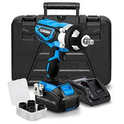 Neiko 10878A 20 V Lithium-Ion Cordless Impact Wrench with Li