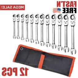12 Pcs Flex-Head Combination Wrench Ratcheting Duo Metric SA