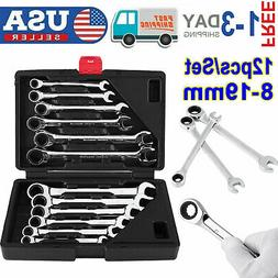 12 Pcs Metric Fixed Head Ratcheting Wrench Spanner 8-19mm Po
