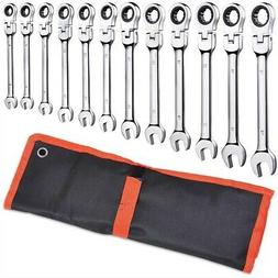 12pc Metric Flexible Head Ratcheting Wrench Combination Tool