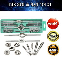 12pcs Tap & Die Set Wrench M3~M12 Screw Thread Metric Plugs