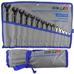 14 Piece Metric Combination Wrench Set 7mm to 22mm with Roll