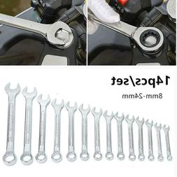 14pcs 8-24mm Metric Portable Opening Head Wrench Spanner Com