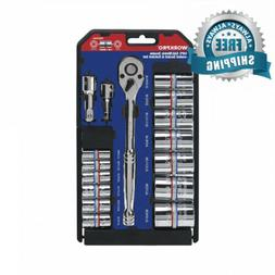 WORKPRO 16-Piece Double-ended Socket Set SAE/Metric with Rac