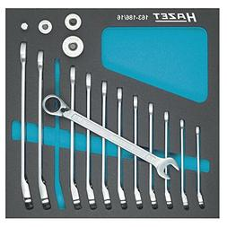 Hazet 163-186/16 Ratcheting combination wrench set with squa