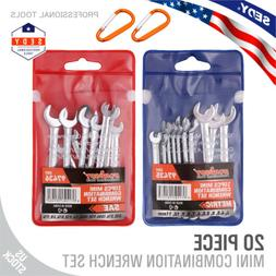 20 pc Mini Wrench Set Metric SAE Ignition Spanner Open End a