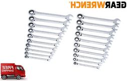 GearWrench 20 pc Ratcheting Combination Wrench Set SAE Stand