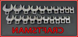 CRAFTSMAN 20pc LOT FULL POLISH SAE METRIC MM Crowfoot Crowsf