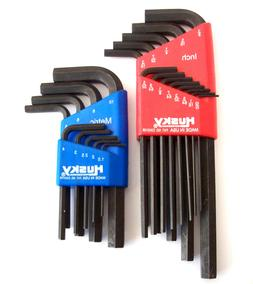 22pc HUSKY ALLEN HEX KEY WRENCH SET SAE & METRIC USA MADE BY