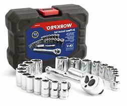 """WORKPRO 24 Pieces Drive Socket Set, 3/8"""" SAE and Metric Sock"""