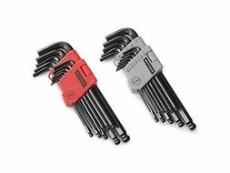TEKTON Long Arm Ball End Hex Key Wrench Set, Inch/Metric, 26