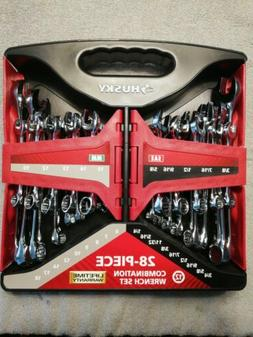 Husky 28-Piece SAE and Metric Combination Wrench Set NEW chr