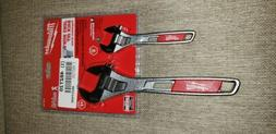 2pc 6 and 10 Adjustable Wrench Set Milwaukee 48-22-7400 Hand