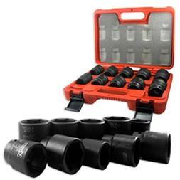 "3/4"" DR DRIVE BLACK IMPACT SOCKET WRENCH TOOL SET DUAL SIZE"
