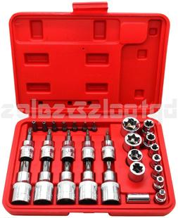 30pc Male Tamper Proof Star Bit & Female E Socket Set Torx D