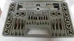 40-pc Carbon Steel SAE Tap & Die Set, 3 Adjustable Wrenches,