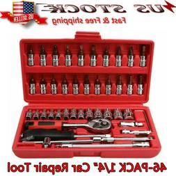 "46Pcs 1/4"" Ratchet Wrench Combination Package Socket Tool Se"