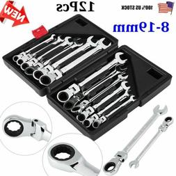 12Pcs Metric Flexible/Fixed Ratchet Wrench Polished Spanners