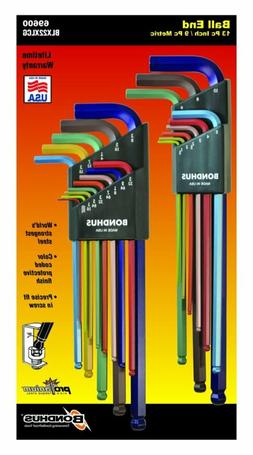 Bondhus 69600 Ball End Double Pack L-Wrench Set with ColorGu