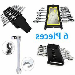 6Pcs Wrench Reversible Ratcheting Combination Wrench Set Fle