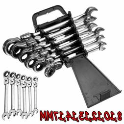 6pcs Flexible Metric Ratcheting Combination Wrench Set 8-17