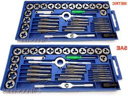 80PC Carbon Steel SAE & METRIC Tap and Die Set Adjustable Wr