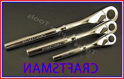 CRAFTSMAN HAND TOOLS 3pc 1/4 3/8 1/2 FULL POLISH Ratchet soc