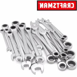 Craftsman 20 pc Combination Ratcheting Wrench Set Metric MM /& Standard SAE