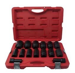 T&E Tools 15 Piece, 3/4 Inch Drive, SAE, Deep, Impact Socket