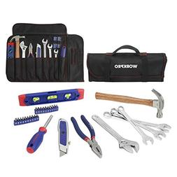 WORKPRO 29-piece Tool Set Homeowners Repair Kit with Rolling