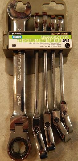 BRAND NEW PITTSBURGH 60592 5 PC. FLEX-HEAD COMBO WRENCH SET