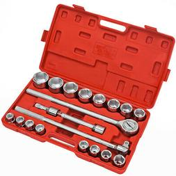 """XtremepowerUS 21Pc 3/4"""" Drive Socket Wrench Set - 6 Points S"""