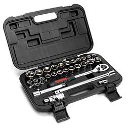 "MAXPOWER 30pcs 1/2"" Drive Socket Wrench Set Includes up to 1"