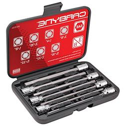 CARBYNE 7 Piece Extra Long Hex Bit Socket Set - SAE, S2 Stee