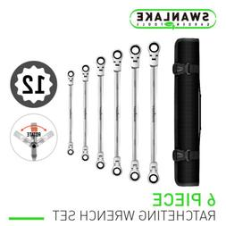 Extra Long Ratcheting Wrenches Spanner Set Double Box End Fl