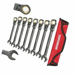WORKPRO 8-piece Flex-Head Ratcheting Combination Wrench Set