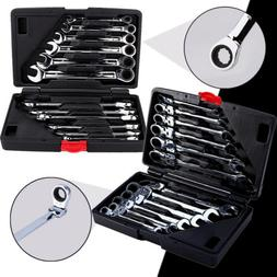 12pcs Pro Flexible/Fixed Spanners Ratchet Wrench Metric Hand