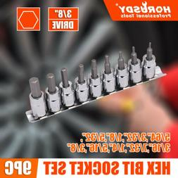 "3/8"" Drive Socket Bit Hex Key Allen Wrench Set 9pc SAE with"