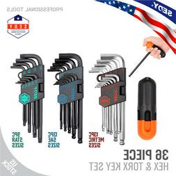 Hex Key Allen Wrench Set Long Arm Ball End SAE Metric Star T