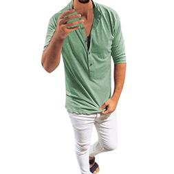 kaifongfu Shirt for Men,Solid Color Round Neck Slim Sleeve T