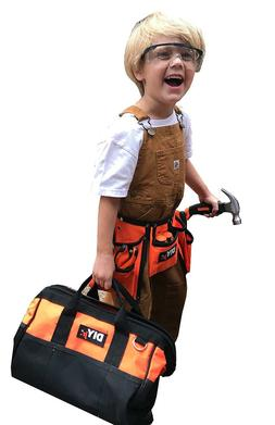 Kids Real Tool Kit Tool Bag Box Tape Measure Wrenches Hammer