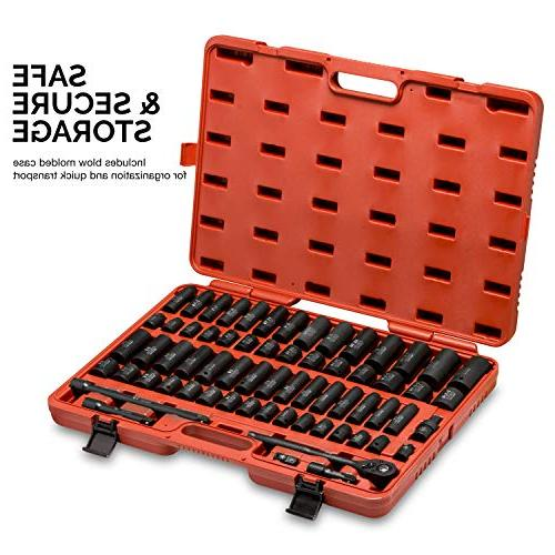 Impact Socket with Adapters and Handle, 65-Piece and SAE