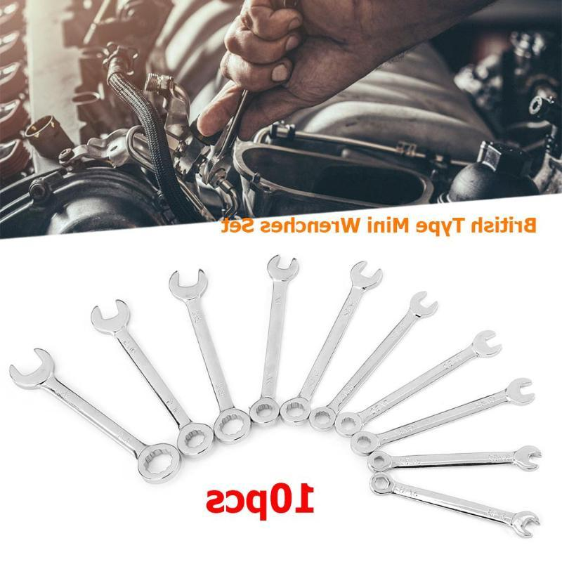 10pcs Mini Metal Heads <font><b>Offset</b></font> Ring <font><b>Wrench</b></font> Spanner Combination Key Ring Hand Tools