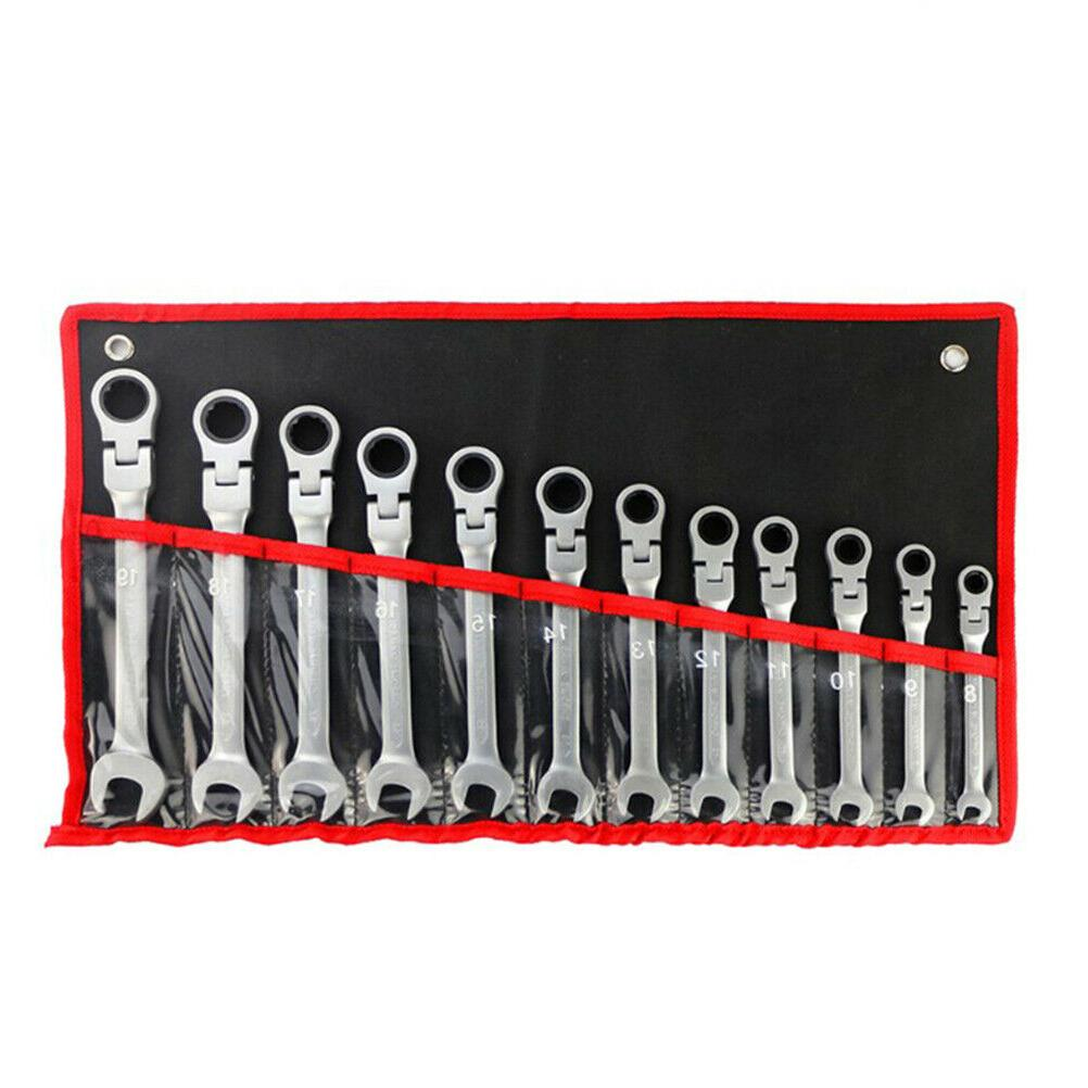 """12PC 5/16"""" to 3/4"""" Metric 8mm to Flex Head Wrench Spanner Set US"""