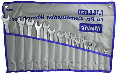 15pc piece metric combination wrench set w