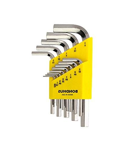 Short Length Finish sizes .050-3//8-Inch Bondhus 16237 Set of 13 Hex L-wrenches with BriteGuard