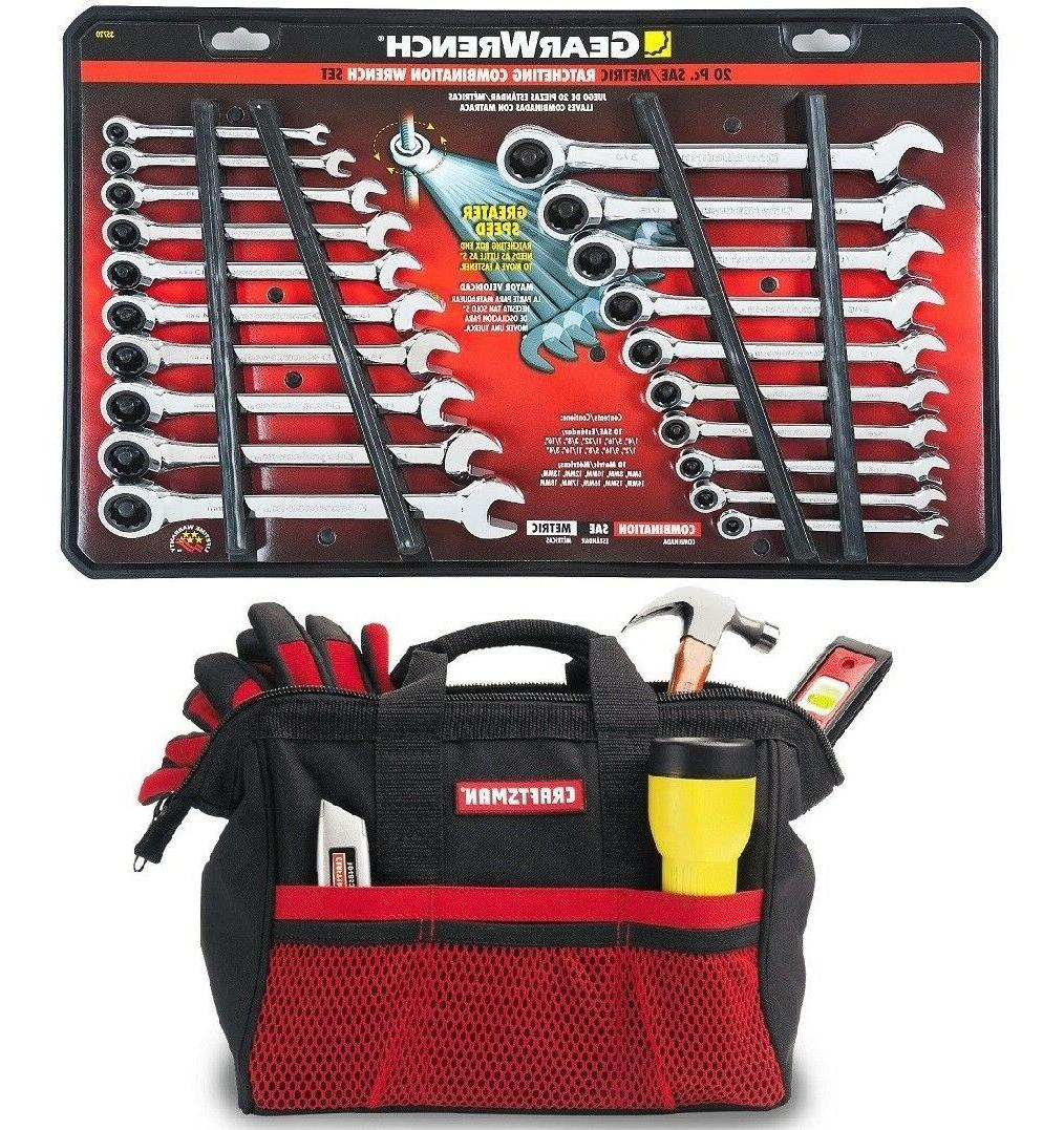 20 pc ratcheting combination wrench set sae