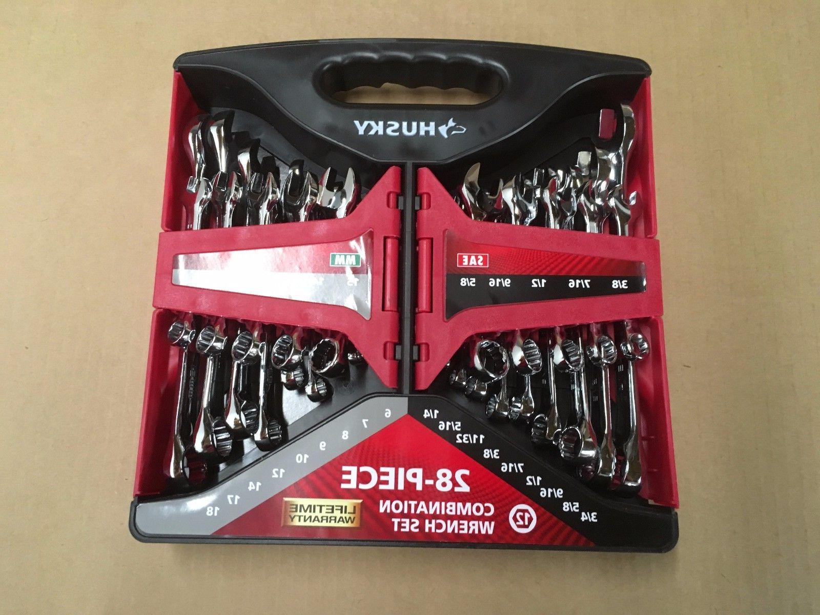 28 piece combination sae and metric wrench